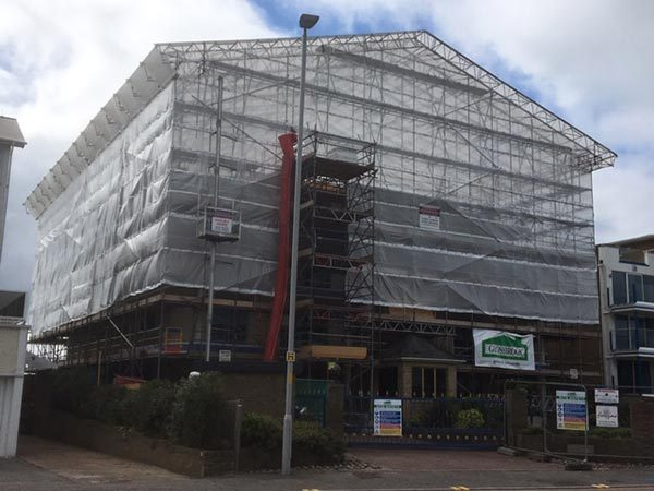 Sundance 77-79 Banks Road Poole - Glossbrook Builders Ltd Temporary Roof for Refurbishment - Bournemouth Scaffolding Project