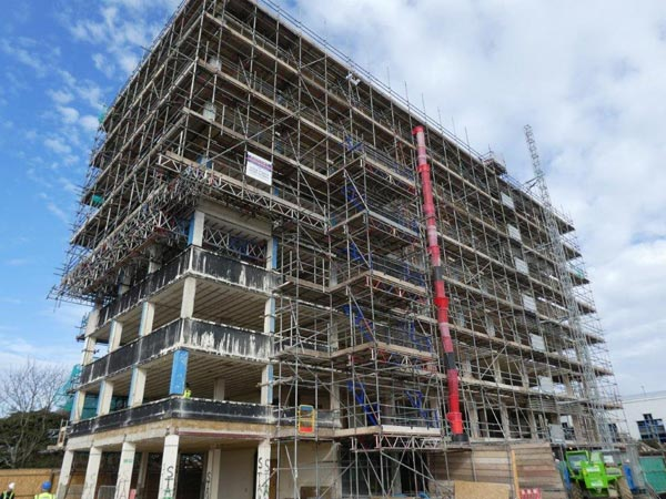 Scaffolding at Crown Buildings Poole for Glossbrooks Builders Ltd by Bournemouth Scaffolding Ltd