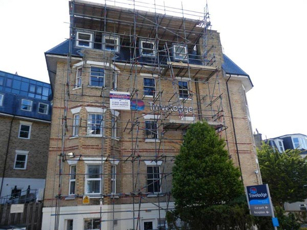 Scaffolding at Travel Lodge in Bournemouth by Bournemouth Scaffolding Ltd