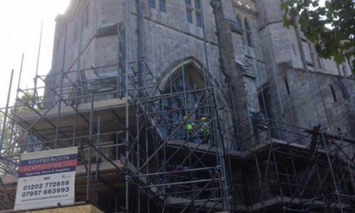 Christchurch Priory Scaffolding for Stonework Repairs by Bournemouth Scaffolding Ltd